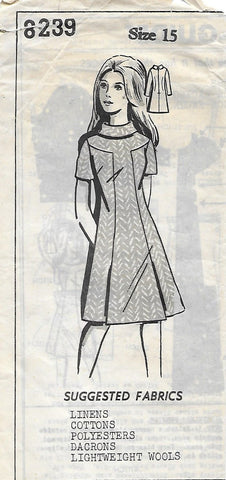 Mail Order 8239 Misses' 60s Dress Sewing Pattern with High Collar and Front Panel Colorblock Detail