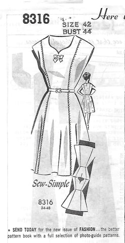 Grit Mail Order 8316 Women's 60s Pullover Wrap Dress Unprinted Sewing Pattern with Sweetheart Neckline Size 42 Bust 44