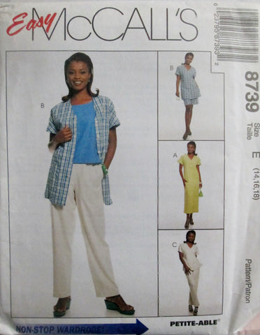 McCalls 8739 Womens 90s Sewing Pattern Dress, Tunic, Top, Pants, Shorts, Size 14, 16, 18 Bust 36-40 - Great Sewing Patterns - 1