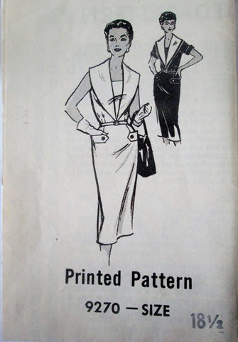 Mail Order 9270 Women's 50s Large Shawl Collar Dress Sewing Pattern Size 18.5 Bust 39 - Great Sewing Patterns - 1