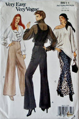 Vogue 8611 Women's 90s Semi-fitted, Wide-Legged Pants Sewing Pattern Size 12 to 16 Hip 36 to 40 - Great Sewing Patterns - 1