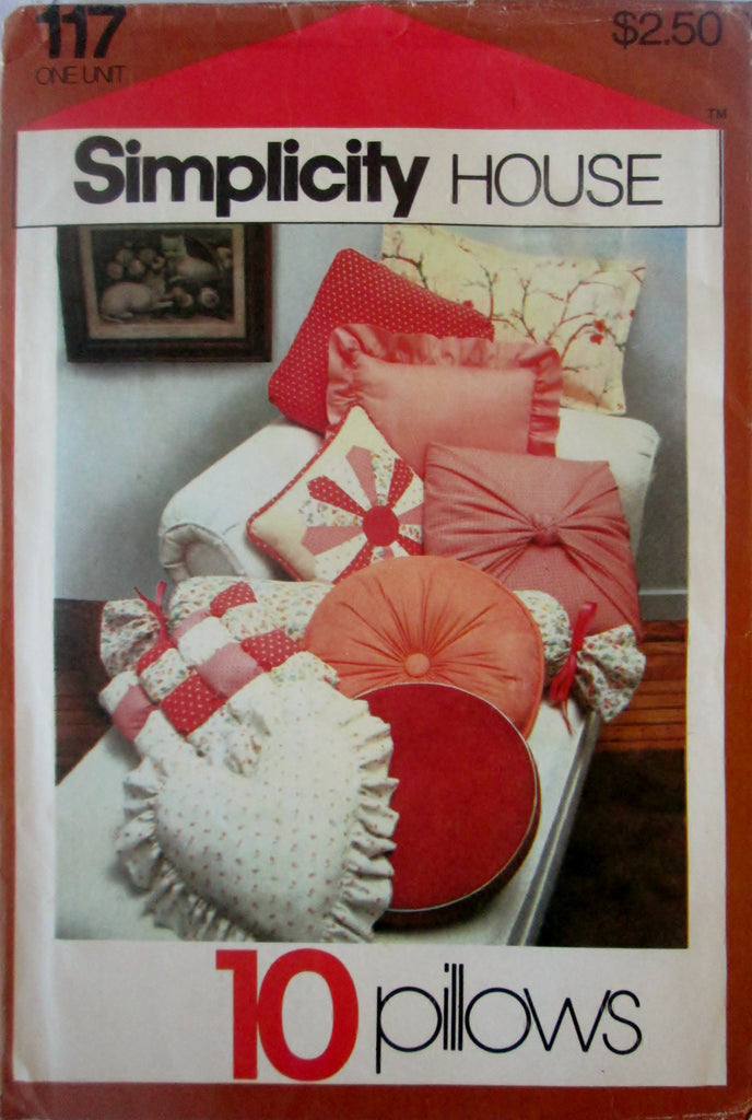 Simplicity 117 Home Decor Pillow Sewing Pattern for 10 Different Decorative Pillows. - Great Sewing Patterns - 1