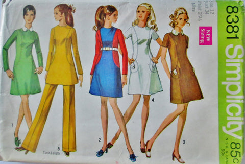Simplicity 8381 Women's 60s Mini Dress or Tunic & Pants Sewing Pattern Size 12, Bust 34 - Great Sewing Patterns - 1