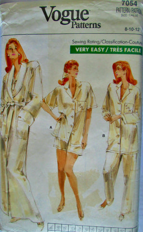 Vogue 7054 Womens 80s Robe, Top, Pants, Shorts Pajama Sewing Pattern Size 8, 10, 12 Bust 31 to 34 - Great Sewing Patterns - 1