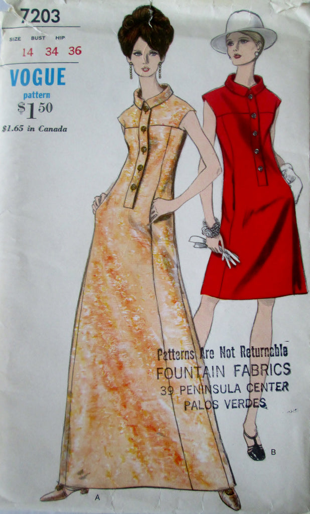 Vogue 7203 Women's 70s One Piece A Line Dress Sewing Pattern Bust 34 - Great Sewing Patterns - 1
