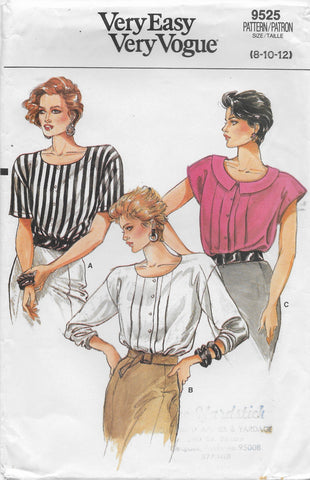 Very Easy Very Vogue Women's 80s Loose-fitting Blouse Sewing Pattern Size 8 to 12 & 14 to 18