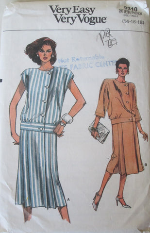 Vogue 9310 Womens 80s Wrap Dress Sewing Pattern with Dropped Waist Bust 36, 38 40. Size 14, 16, 18. - Great Sewing Patterns - 1
