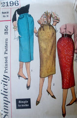 Simplicity 2196 Women's 50s Pencil One Yard Skirt Sewing Pattern Waist 26 Hip 36 - Great Sewing Patterns - 1