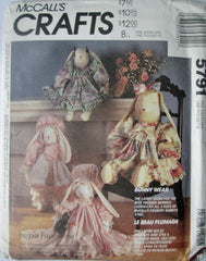 McCalls Crafts 5791 Doll Bunny Clothes Sewing Pattern - Great Sewing Patterns - 1