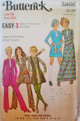Butterick 5866 Women's 70s Vest Pants & Mini Dress or Floor Lenth Size 12 Bust 34 - Great Sewing Patterns - 1