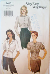 Vogue 9413 Women's 90s Loose-Fitting Blouse Size 6, 8, 10. Bust 30 1/2, 31 1/2, 32 1/2. - Great Sewing Patterns - 1