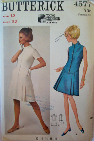 Butterick 4577 Jean Muir One Piece A line Low Waisted 60s Dress Sewing Pattern Bust 32 - Great Sewing Patterns - 1