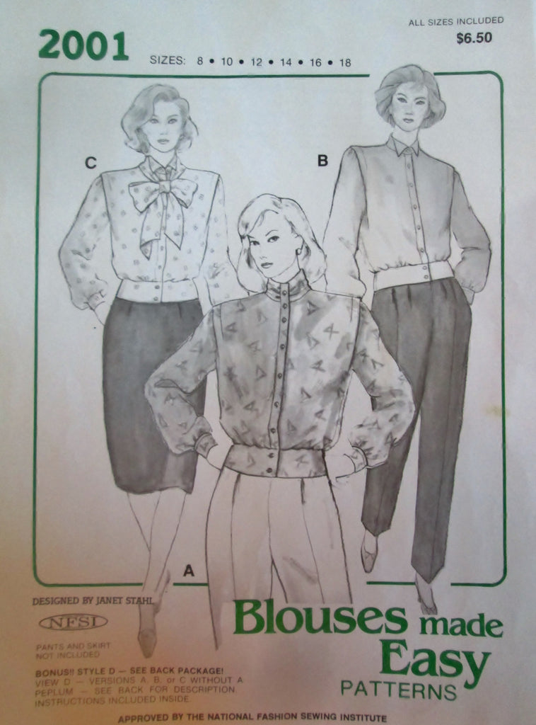 Blouses Made Easy 2001 Women's 80s Peplum Blouse Sewing Pattern Size 8 to 18, Bust 31.5 to 40 - Great Sewing Patterns - 1