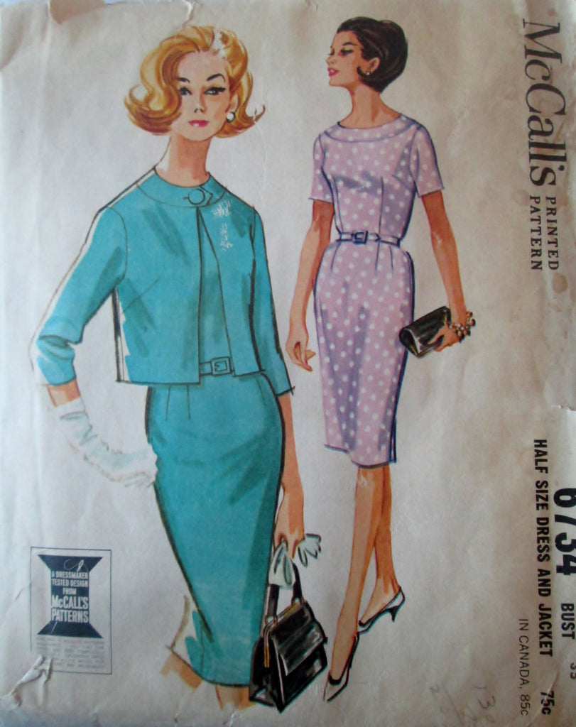 McCalls 6734 Women's 60s Sewing Pattern for a 3 Gore Dress & Jacket Bust 35 Size 14 1/2 - Great Sewing Patterns - 1