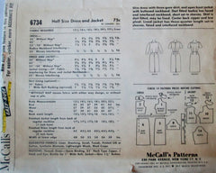 McCalls 6734 Women's 60s Sewing Pattern for a 3 Gore Dress & Jacket Bust 35 Size 14 1/2 - Great Sewing Patterns - 2