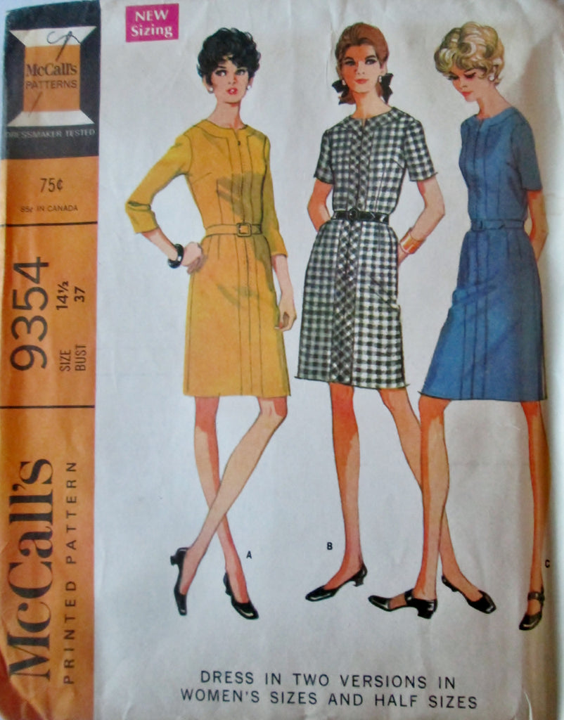 McCalls 9354 Women's 60s Sewing Pattern Bias Dress in Two Versions Bust 37 - Great Sewing Patterns - 1