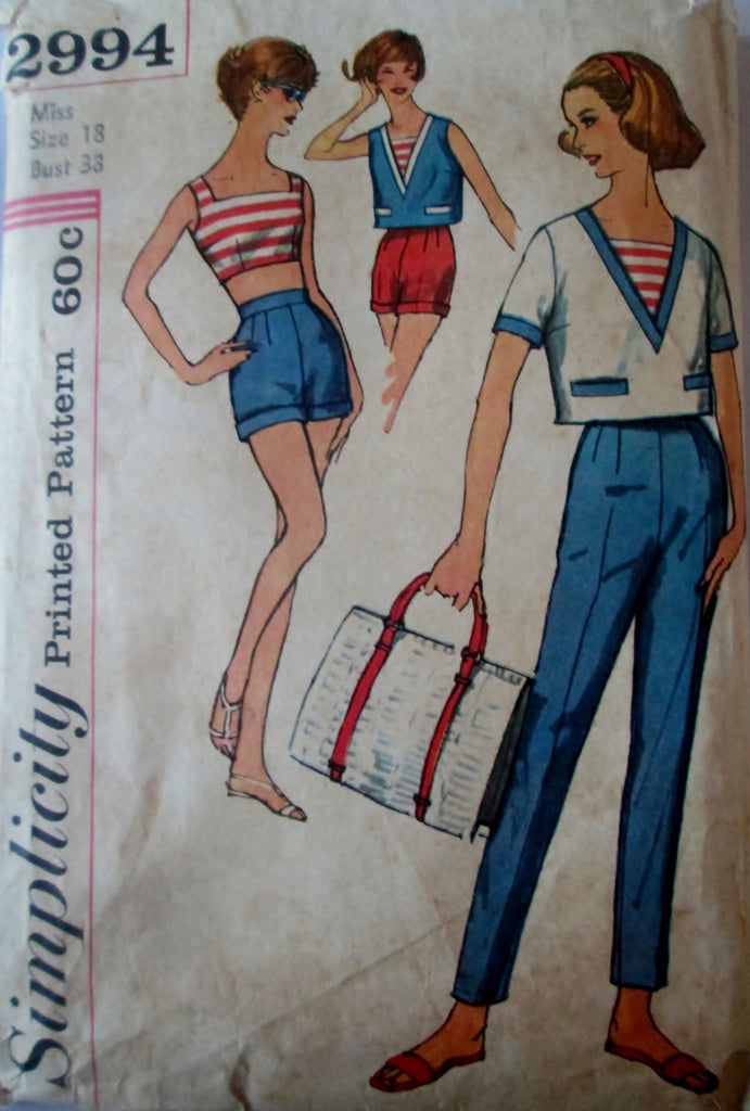 Simplicity 2994 Women's 50s Sewing Pattern Bra, Pants, Shorts & Overblouse Bust 38 - Great Sewing Patterns - 1