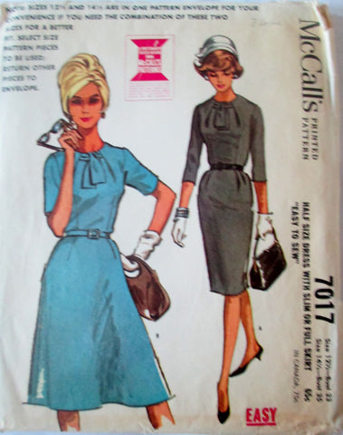 McCalls 7017 Women's 60s Dress with Slim or Full Skirt Sewing Pattern Size 12.5-14.5 Bust 33, 35 - Great Sewing Patterns - 1