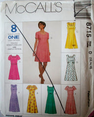 McCalls 8715 Women's 90s Sewing Pattern Semi-Fitted Dress 2 Lengths  Bust 34 to 38 - Great Sewing Patterns - 1