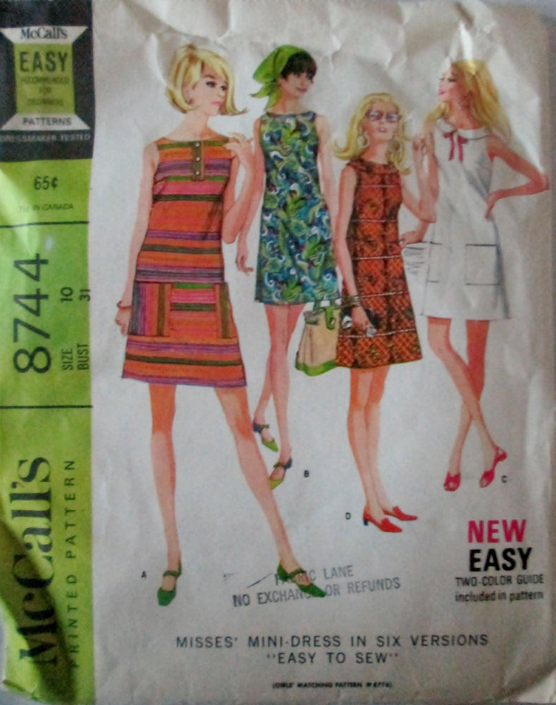 McCalls 8744 Women's 60s Sewing Pattern Mini-Dress in Six Versions Size 10 Bust 31 - Great Sewing Patterns - 1