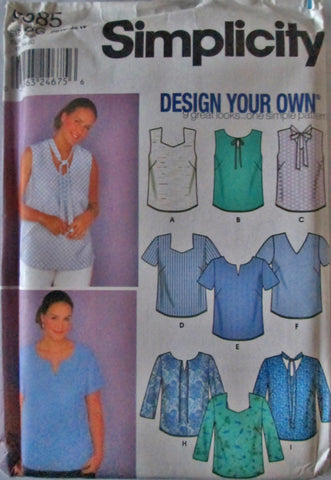 Simplicity  9585 Women's 2000s Sewing Patten for Blouse Bust 48 to 54 Size 26 W- 32 W - Great Sewing Patterns - 1