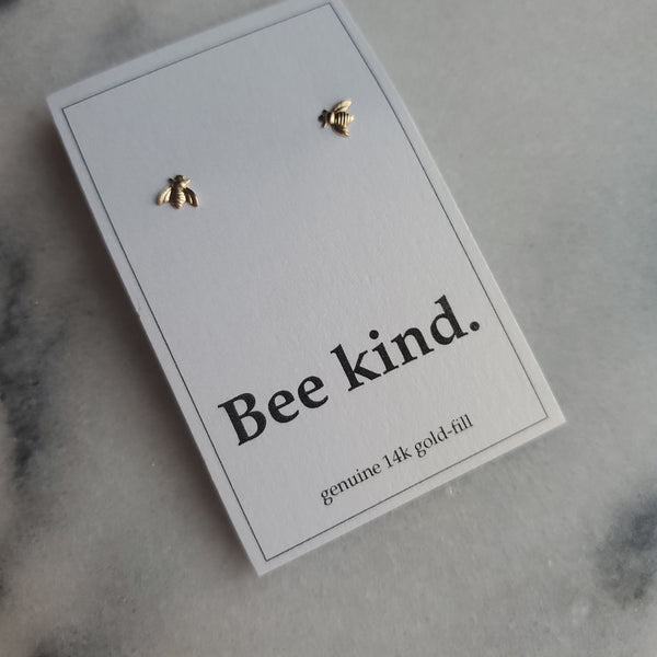 Sterling Silver Gold Plate Stud - Bee