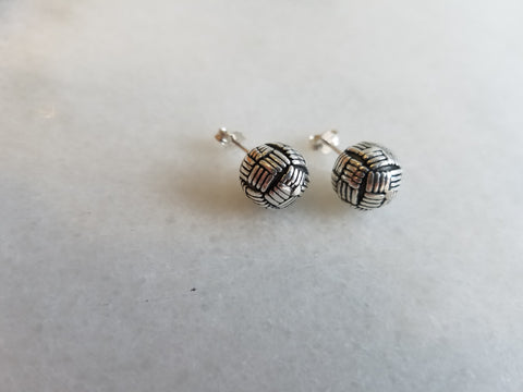 Sterling Silver Basket Weave Ball Studs