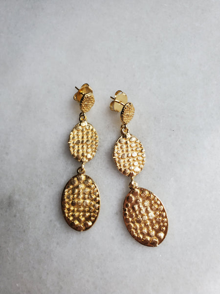 Marcia Moran Triple Drop Embossed Earrings