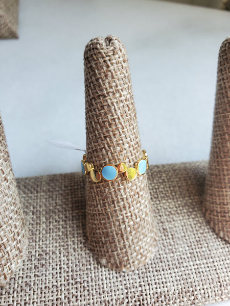 Gold & Blue Bubble Ring - Size 8
