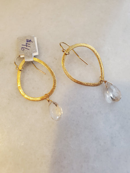 Brushed Gold Teardrop earring with Clear Quartz Stone