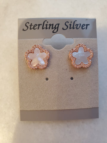 Mother of Pearl & CZ Clover Studs - Rose Gold - Medium