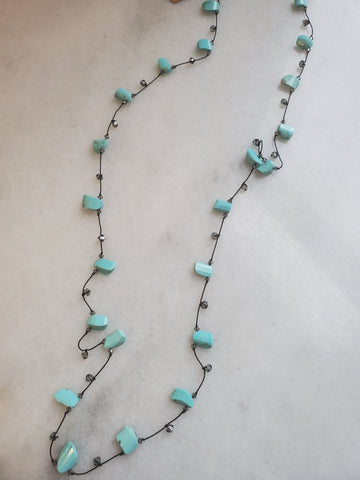 Daidra Freeform Seeping Beauty Turquoise Necklace
