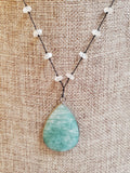 Daidra Amazonite Pendent & Moonstone Short Necklace