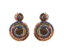 LaVish Caramel Hand Crochet Mandala Earrings