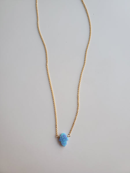 Small Light Blue Hamsa Gold Necklace