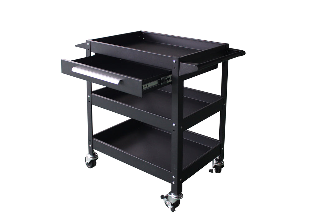 3-Tier Rolling Service Cart with Drawer and Powder Coated Metal Frame