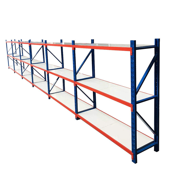 Metal Storage Shelves, Heavy-Duty Steel Frames, 39 Linear Feet, 700 lbs Capacity Per Shelf