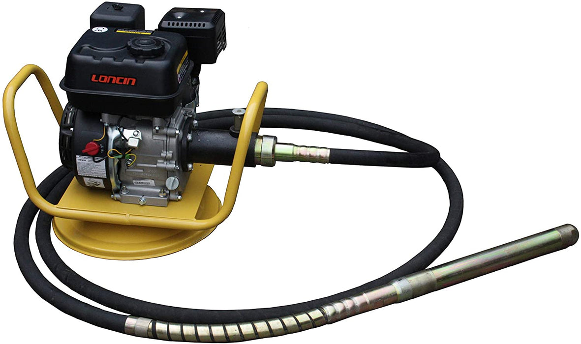 6.5HP Gas-Powered Concrete Vibrator with 20ft Flexible Vibration Poker, 360-Degree Swivel Base