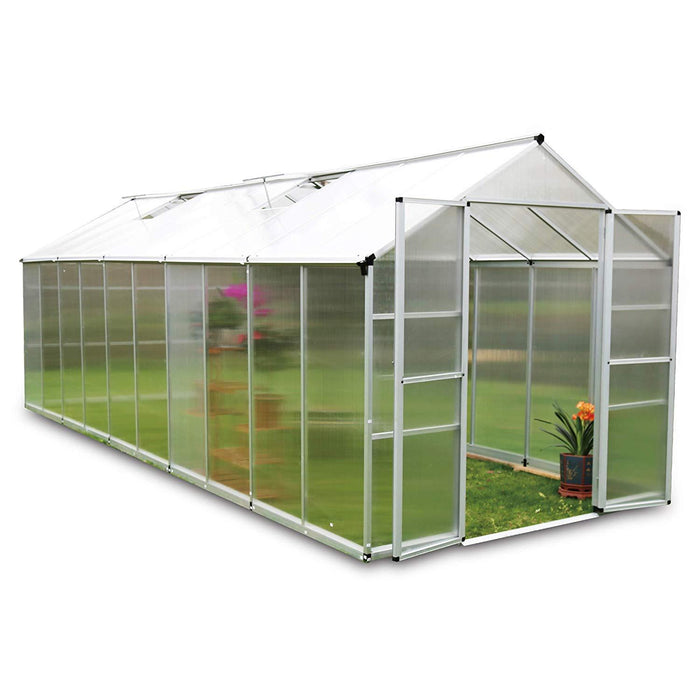 8' x 16' Twin Wall Aluminum Greenhouse with Vented Roof and UV Protected Polycarbonate Panels