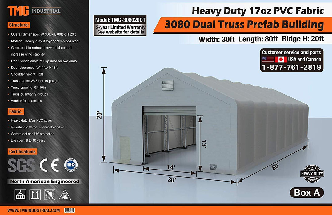 30' x 80' Dual Truss Prefab Shelter with Heavy Duty 17oz PVC Fabric