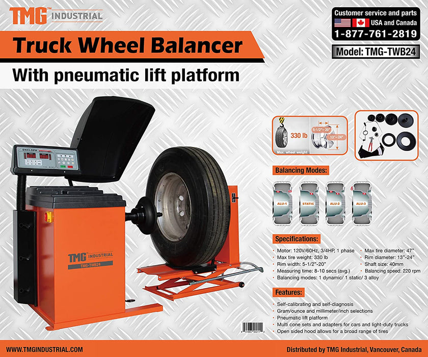 Truck Wheel Balancer with Air Powered Wheel Lift