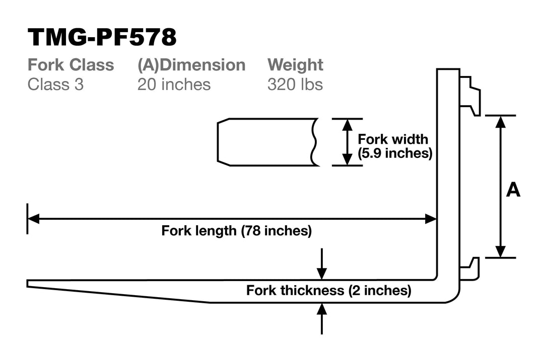 "Forged Steel Forklift Forks F3-L60"", 78"", 96""( Three Sizes)-Sold by pair"