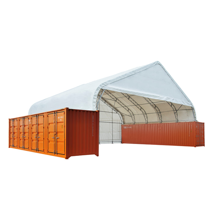 Pro Series 50' x 40' Dual Truss Container Shelter, Enclosed end-wall and front drop with Heavy Duty 32oz PVC Fabric