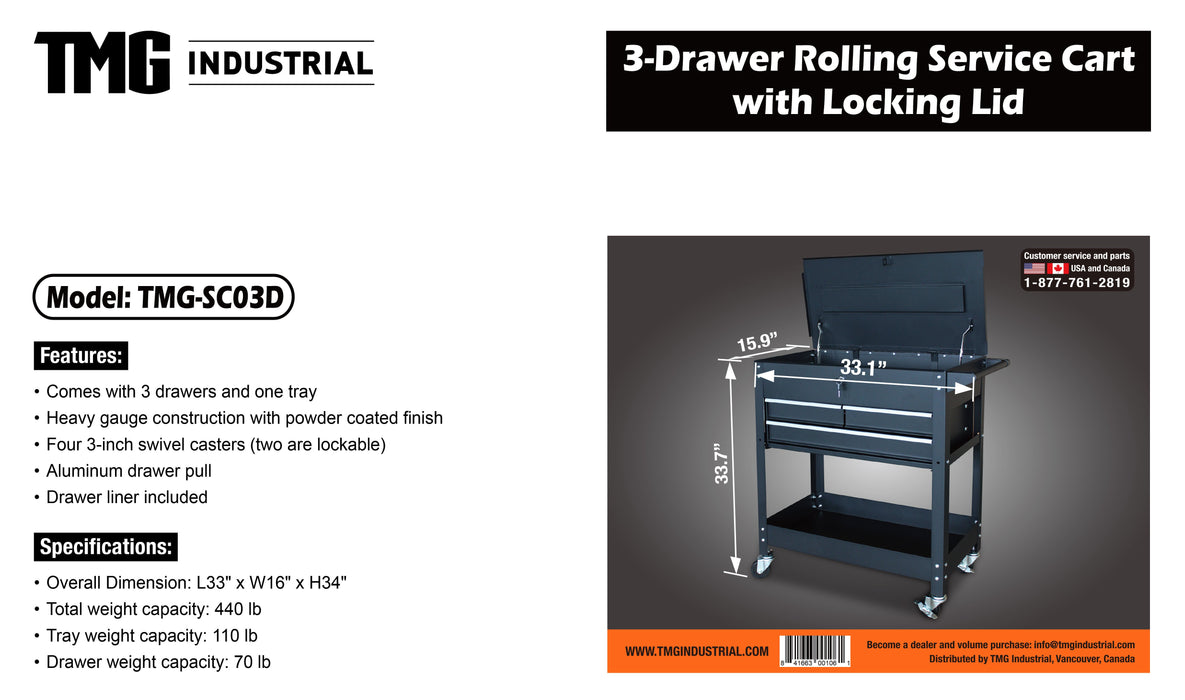 3-Drawer Rolling Service Cart with Locking Lid