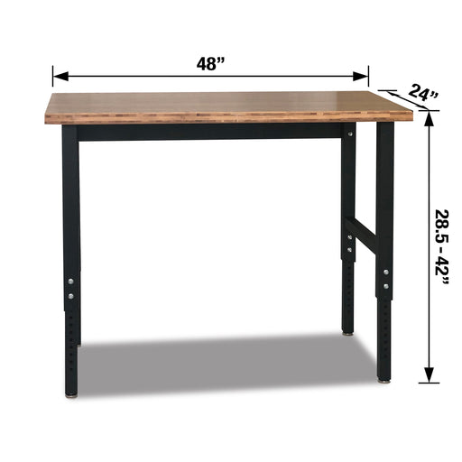 "48-in Bamboo Workbench – Adjustable Height: 28.5"" – 42"" - Heavy-Duty Steel Frame"