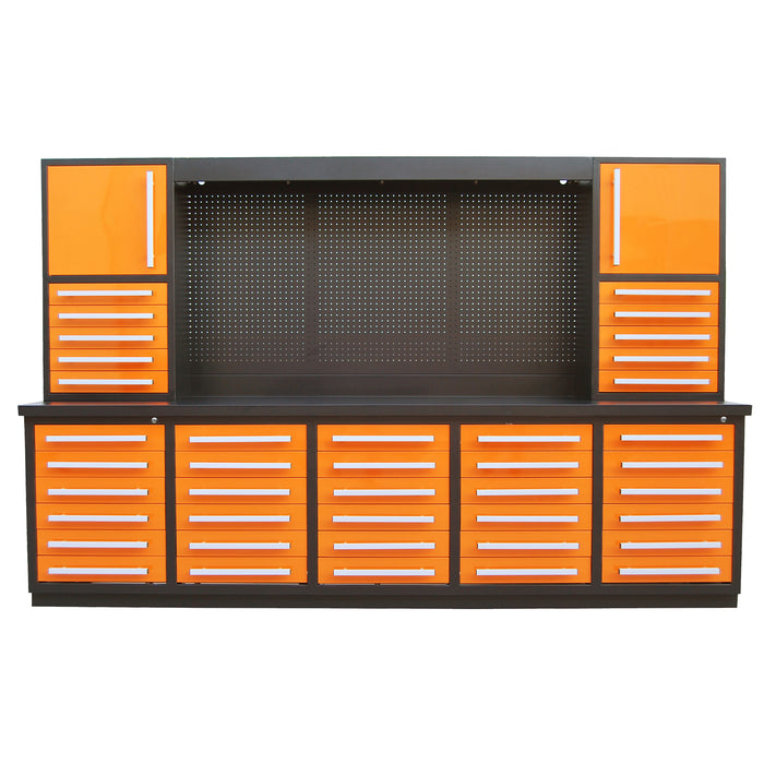 "10ft 30-Drawer Workbench Cabinet Combo with 68"" Pegboard"