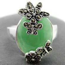 005 GREEN JADE MARCASITE UNQIUE DELICATE SILVER RING SIZE 7/8/9/10 can choose - Alternative Measures