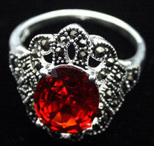 005 RARE SILVER RED RUBY MARCASITE JEWELRY RING SZ 7/8/9/10 can choose - Alternative Measures