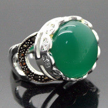 005 Rare Natural Green Agate Gems Silver Marcasite Ring Size 7/8/9/10 can choose - Alternative Measures