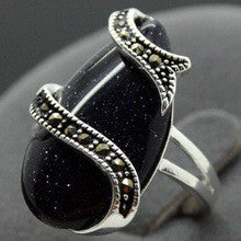 005 VINTAGE SILVER RING MARCASITE BLUE GOLDSTONE LUCKY RING SZ 7/8/9/10 can choose - Alternative Measures